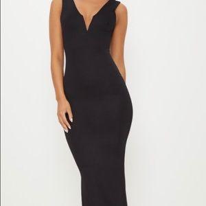 Black V Bar Plunge Maxi Dress
